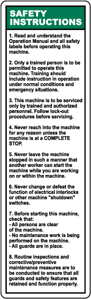 Machine Safety Instructions Label
