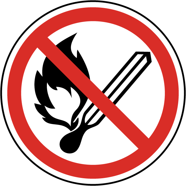No Open Flame Symbol Label