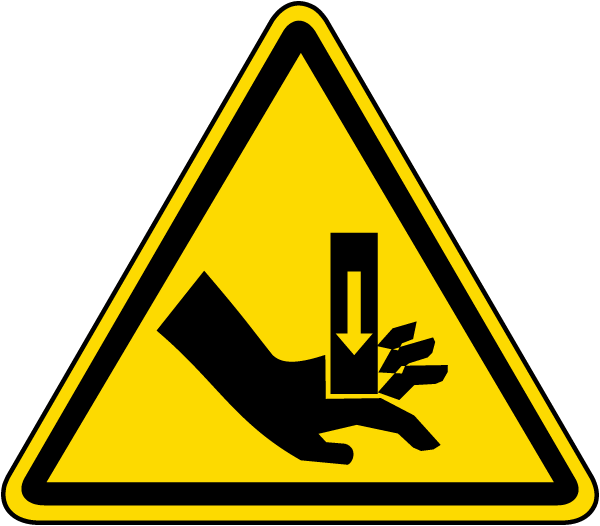 Hand Crush Warning Label