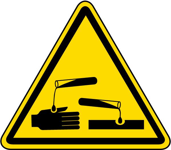Corrosive Substance Warning Label