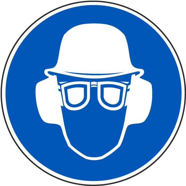 Wear Hard Hat, Eye & Ear Protection Label