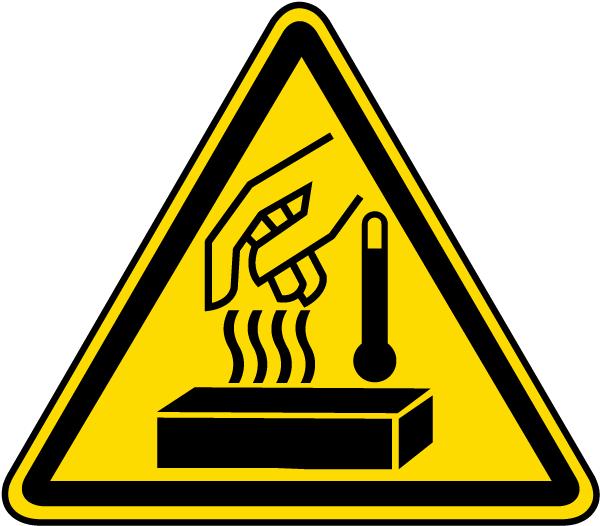 Hot Materials Warning Label