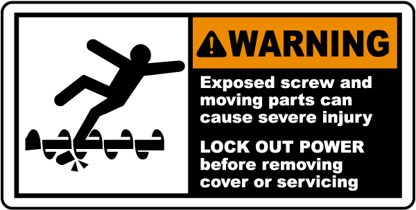 Exposed Screw Can Cause Injury Label