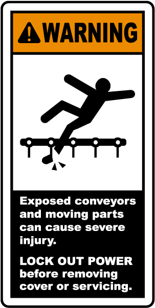 Warning Exposed conveyor and moving parts can cause severe injury label