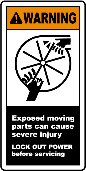 Exposed Moving Parts Lock Out Label