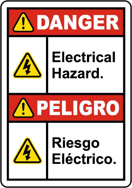 Bilingual Danger Electrical Hazard Label