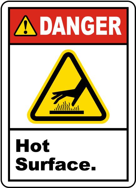 Danger Hot Surface Label
