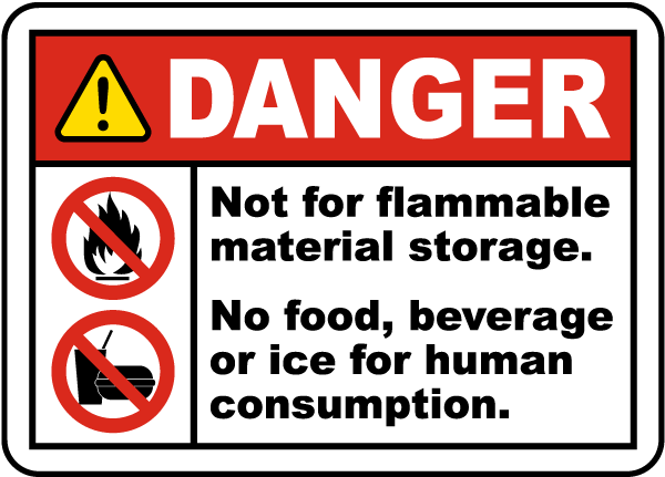 Not For Flammable Storage Label