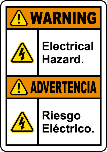 Bilingual Warning Electrical Hazard