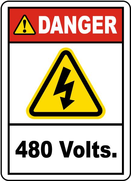 Danger 480 Volts Label