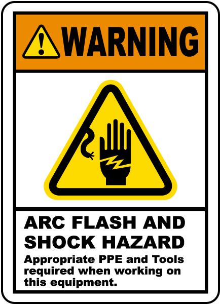 Arc Flash and Shock Hazards Label