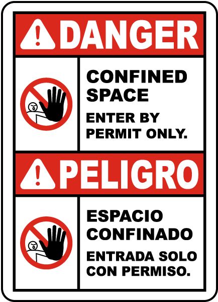 Bilingual Confined Space Enter By Permit Only Label