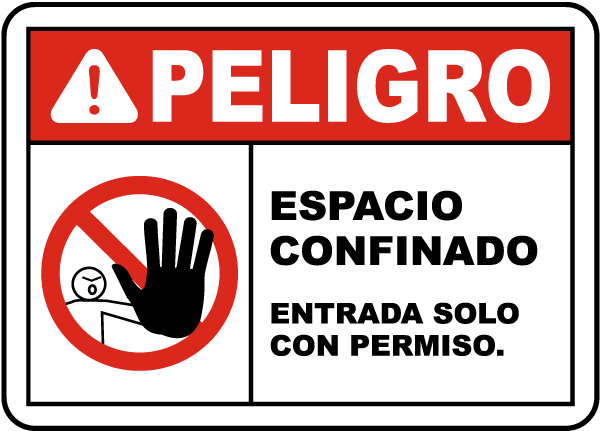 Spanish Confined Space Enter By Permit Only Label