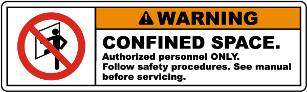 Warning Confined Space Label