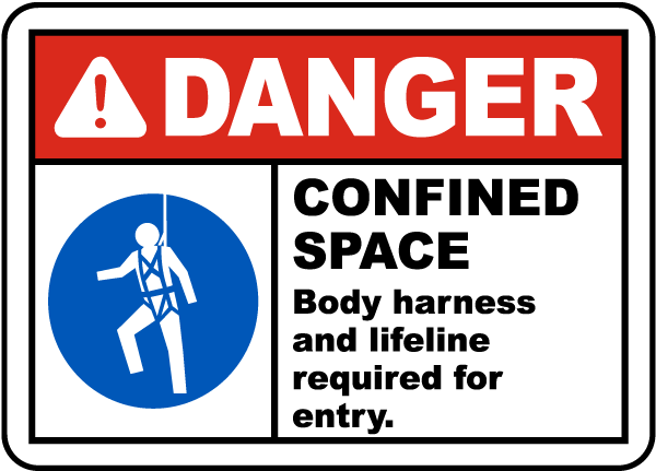 Danger Confined Space Body Harness and Lifeline Required for Entry.