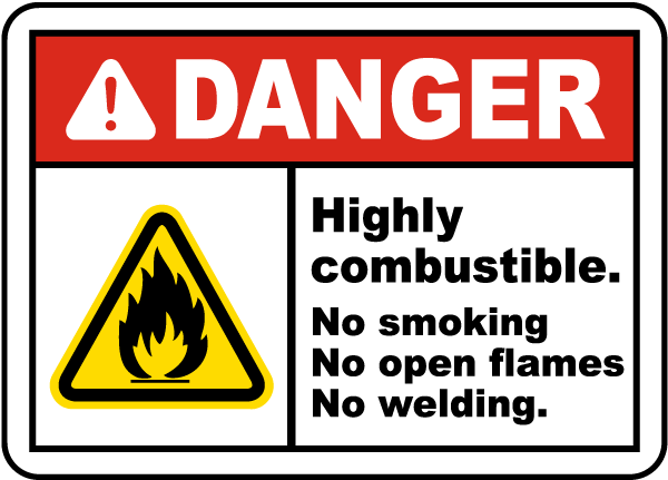 Highly Combustible No Smoking Label