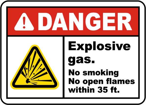 Explosive Gas No Smoking Label