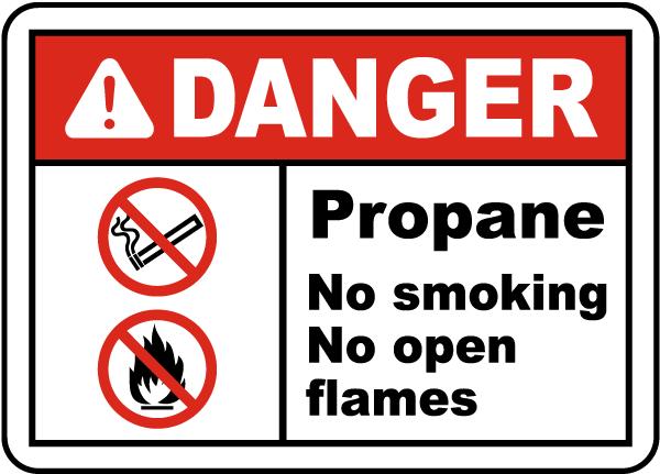 Propane No Smoking No Open Flame Label