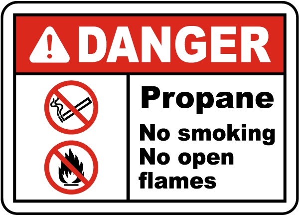 Propane No Smoking No Open Flame Label