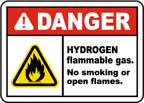 Danger Hydrogen Flammable gas. No Smoking or Open Flames