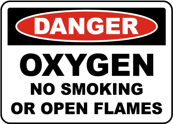 Oxygen No Smoking or Open Flame Label