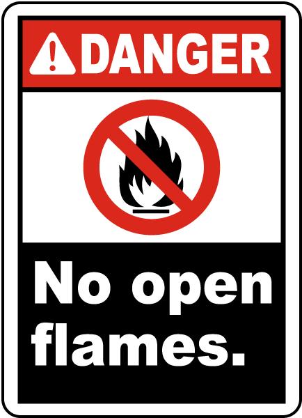 Danger No Open Flames Label
