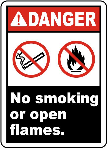 Danger No Smoking or Open Flames Label