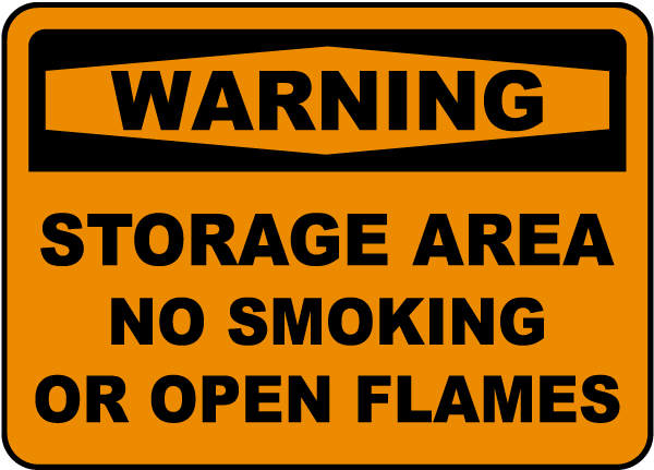 Storage Area No Smoking Label