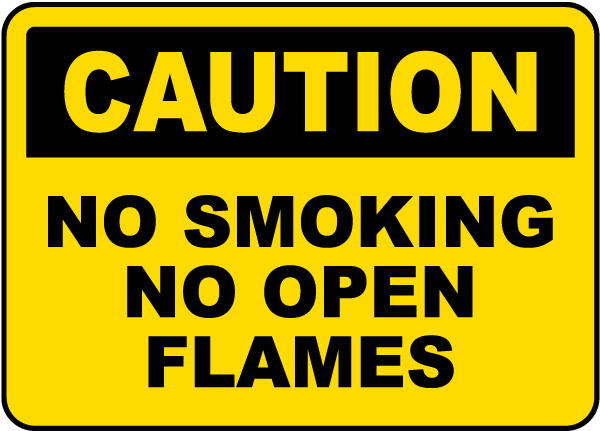 No Smoking No Open Flames Label