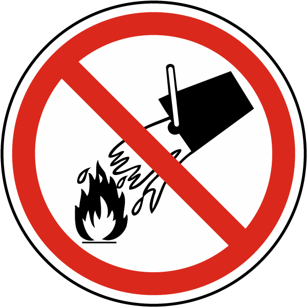 ISO Symbol Do Not Extinguish with Water Symbol Label