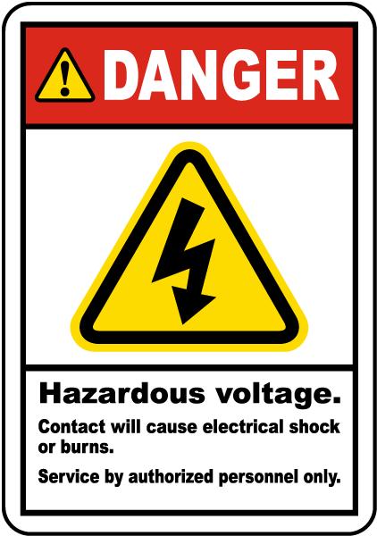 Hazardous Voltage Will Shock Label J6824 By Safetysign Com
