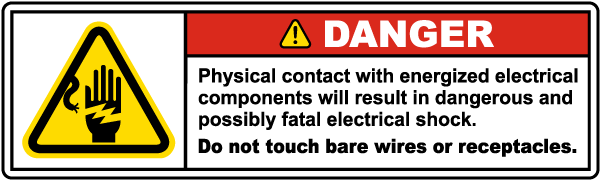 Do Not Touch Bare Wires Label