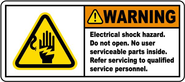 Warning Electrical Shock Hazard Label