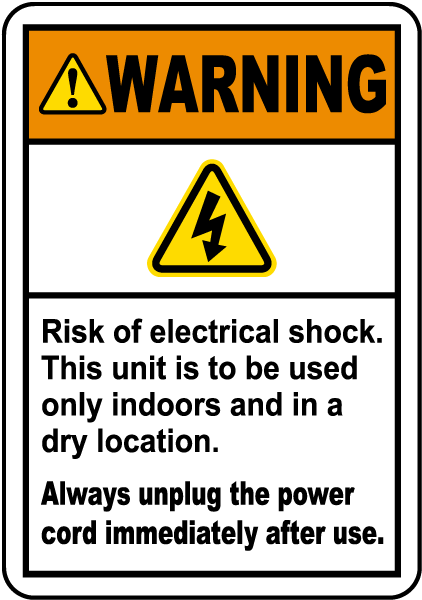 Always Unplug The Power Cord Label