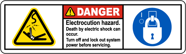 Electrocution Hazard Turn Off Label
