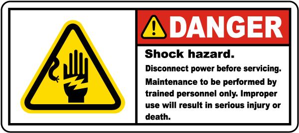 Shock Hazard Disconnect Label