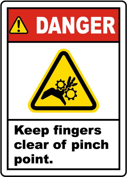 Danger Keep Fingers Clear Label