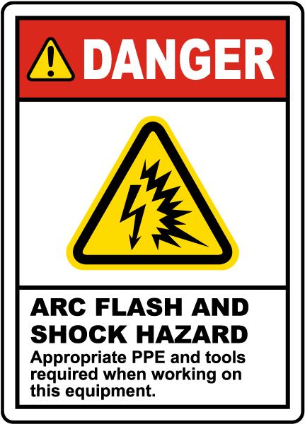 Danger Arc Flash & Shock Hazard Label