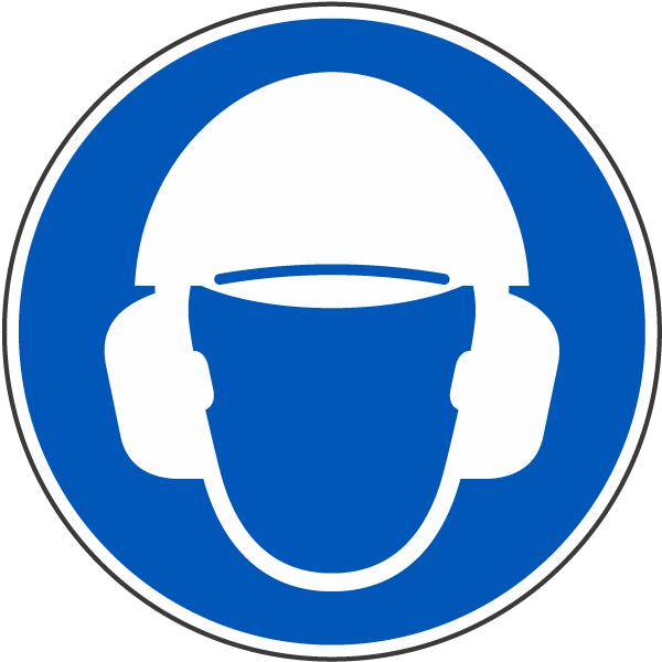 Wear Hard Hat & Ear Protection Label