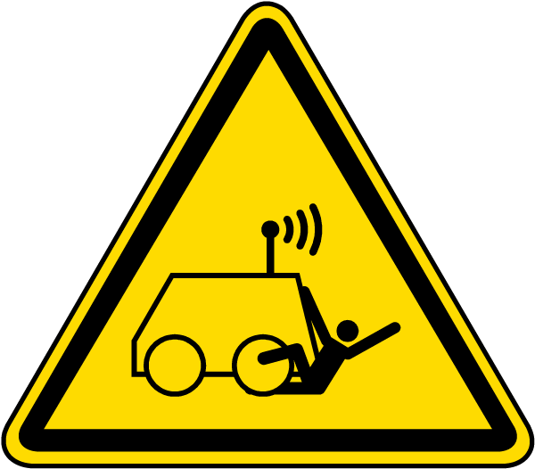 Run Over by Remote Operator Controlled Machine Warning Label