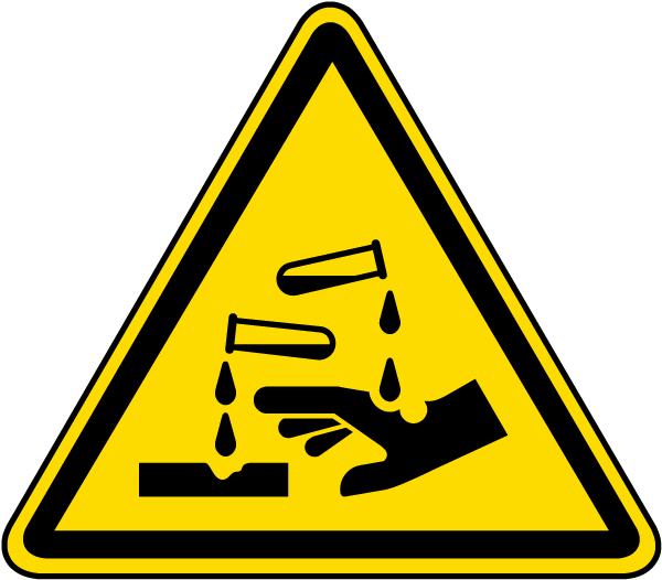 Warning Corrosive substance Label