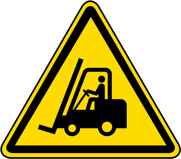Warning Forklift Trucks and Other Industrial Vehicles Label