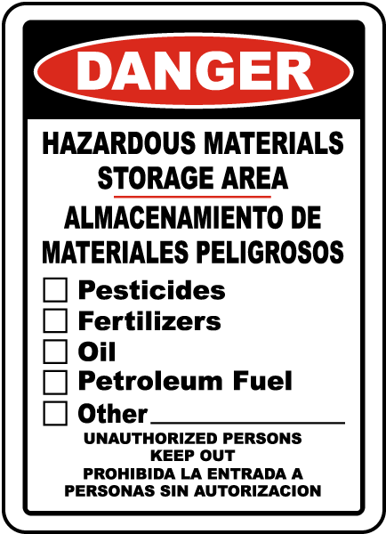 Hazardous Materials Storage Area Sign