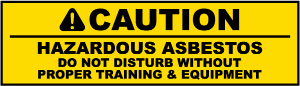 Caution Hazardous Asbestos Label