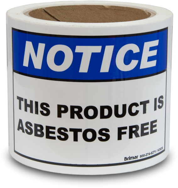This Product Is Asbestos Free Label