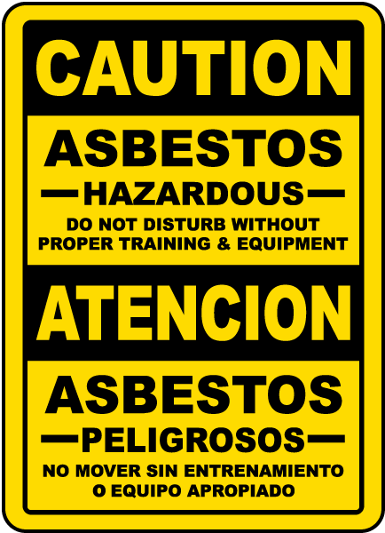 Bilingual Asbestos Hazardous Do Not Disturb Sign