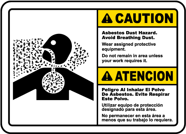 Bilingual Asbestos Dust Hazard Avoid Breathing Dust Sign