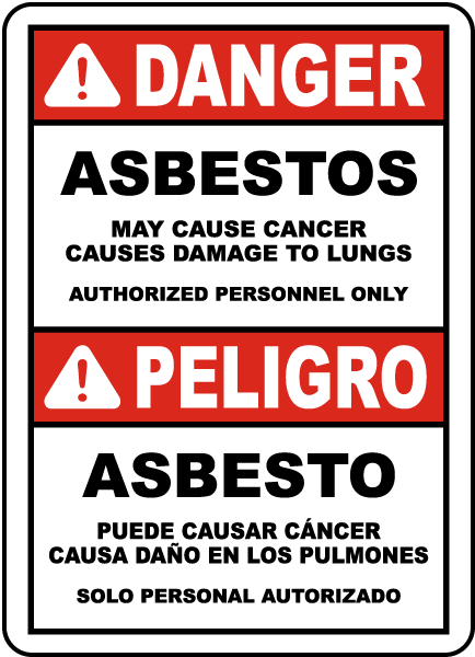 Bilingual 2016 OSHA Compliant Asbestos Sign