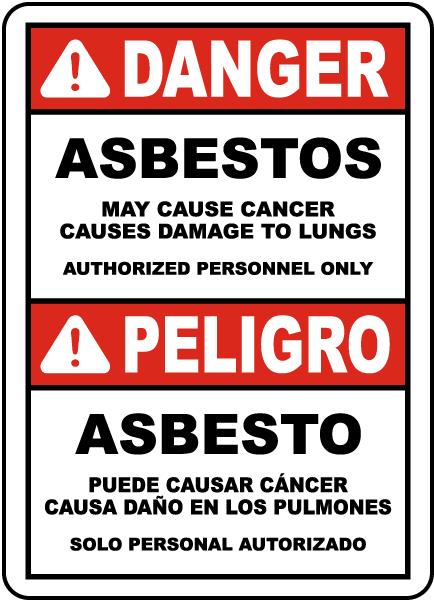 Bilingual OSHA Compliant Asbestos Sign