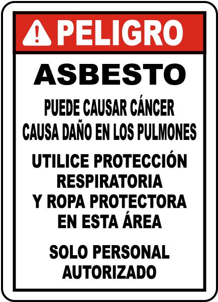 Spanish OSHA Compliant Asbestos Sign
